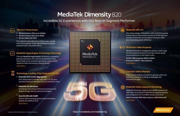 Caratteristiche tecniche Mediatek Dimensity 820
