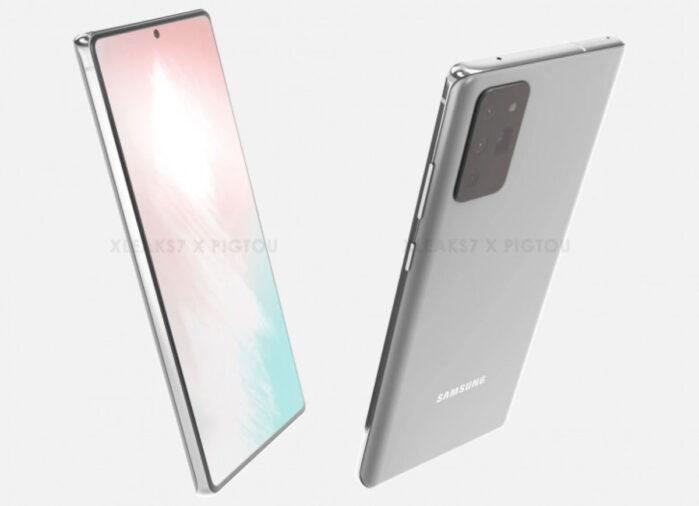 Galaxy Note 20 design render 3D top