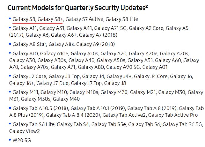 Galaxy S8 e S8 Plus aggiornamenti trimestrali