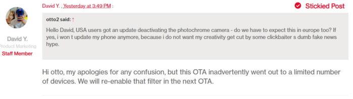 OTA OnePlus 8 Pro filtro colore errore USA