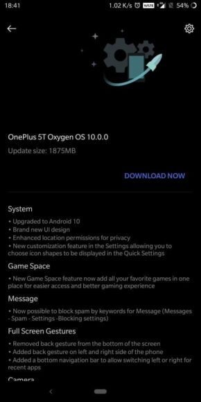 OnePlus 5 e 5T change-log Android 10 stabile