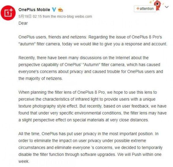 OnePlus filtro colori 1