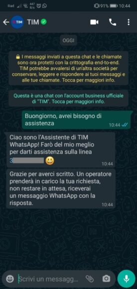 WhatsApp supporto TIM