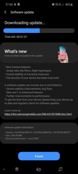 Galaxy A51 aggiornamento fine giugno 2020