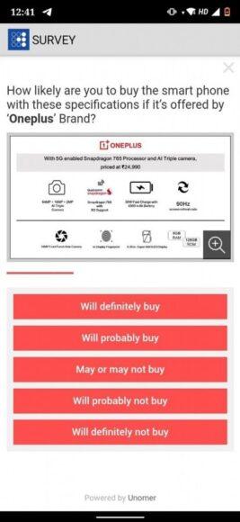 OnePlus Z presunto prezzo e caratteristiche