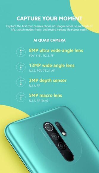 Redmi 9 fotocamera posteriore quadrupla