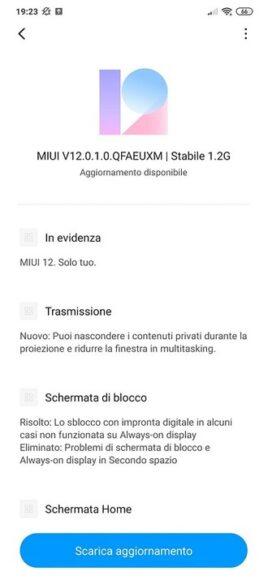 Xiaomi MI 9 MIUI 12 aggiornamento in Italia