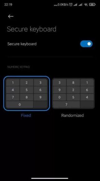 MIUI 12 tastiera numerica casuale per lo sblocco del telefono