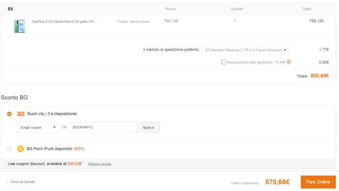 OnePlus 8 12-256GB spedizione da Europa Spagna coupon