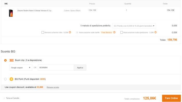 Redmi Note 8 coupon 27 luglio 2020 prezzo Banggood