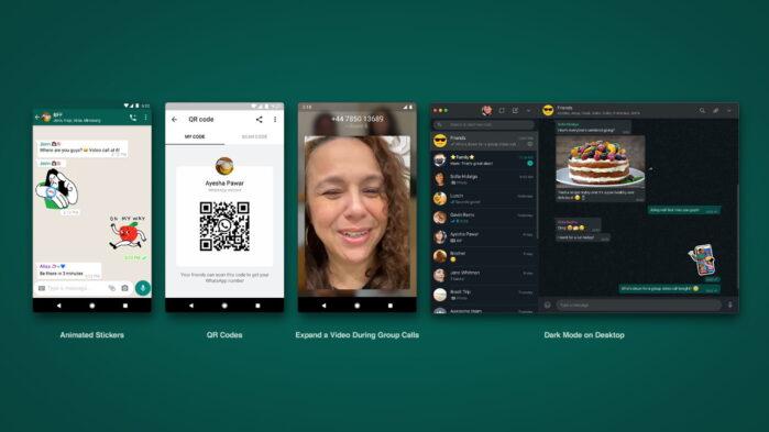WhatsApp adesivi animati codici qr e modalità scura web