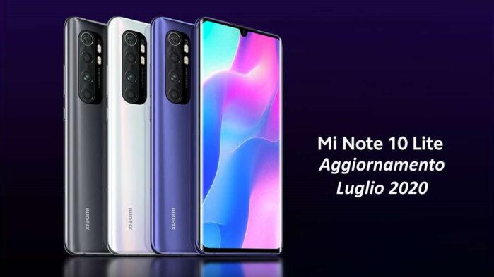 Xiaomi Mi Note 10 Lite luglio 2020 nuovo aggiornamento