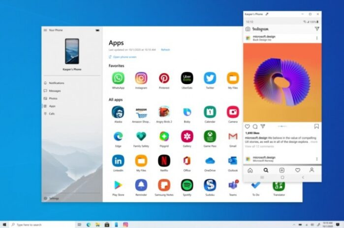 App Your Phone Galaxy S20, S10 e S9 applicazioni su Windows 10