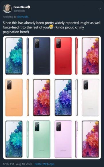 Galaxy S20 FE colori