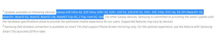 Lista Samsung Galaxy aggiornabili alla ONE UI 2.5