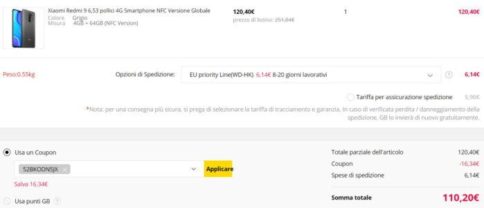 Redmi 9 coupon agosto 2020 prezzo Gearbest Italia