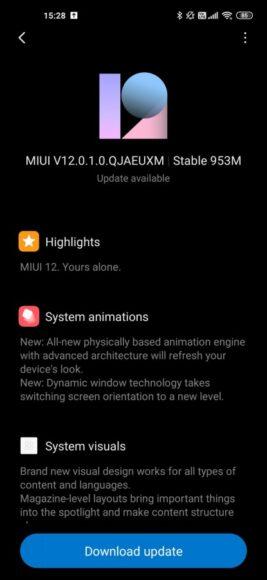 Xiaomi MI 10 Pro aggiornamento MIUI 12 in Europa