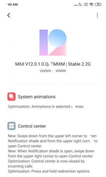 Xiaomi Mi Mix 3 MIUI 12 Stabile