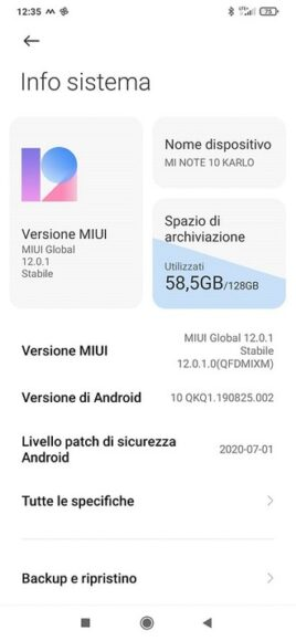 Xiaomi Mi Note 10 MIUI 12 in Italia