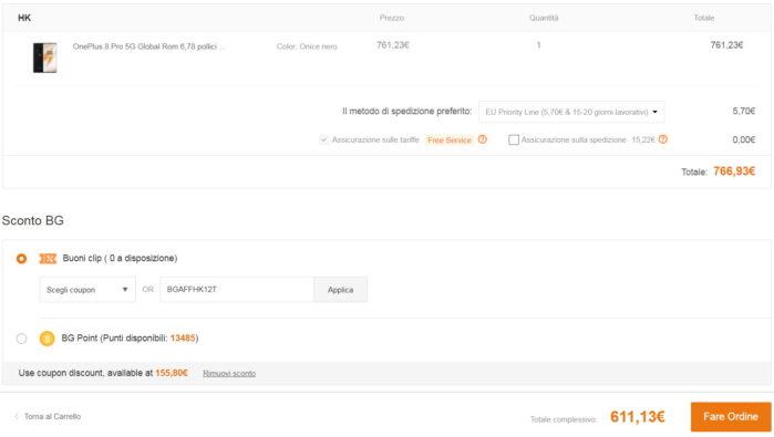 OnePLus 8 Pro 8-128 coupon 25 settembre prezzo Banggood