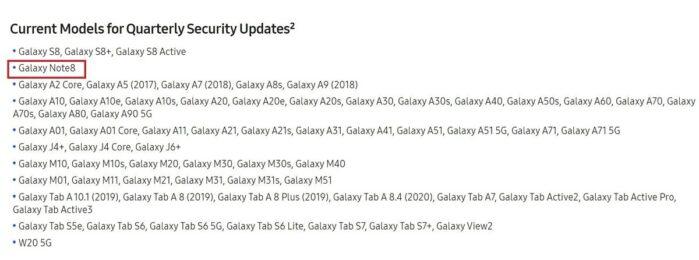 Samsung Galaxy Note 8 aggiornamenti da mensili a trimestrali