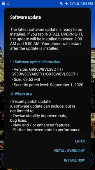 Samsung Galaxy S7 e S7 Edge nuovo firmware ottobre 2020