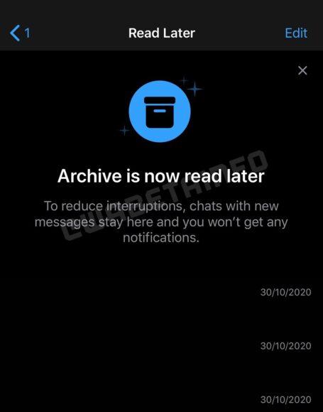 WhatsApp Chat leggi dopo archivio