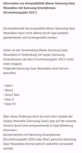Galaxy Gear più vecchi fine supporto con gli smartphone Galaxy del 2021