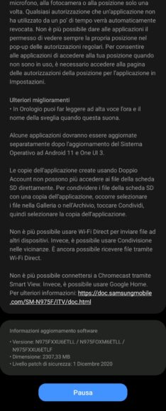 Galaxy Note 10 e 10 Plus aggiornamento Android 11 in Italia 5