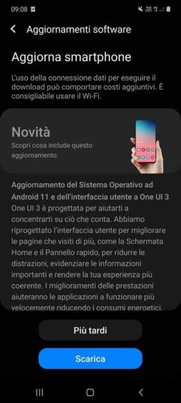 Galaxy S10 Lite Android 11 Italia1