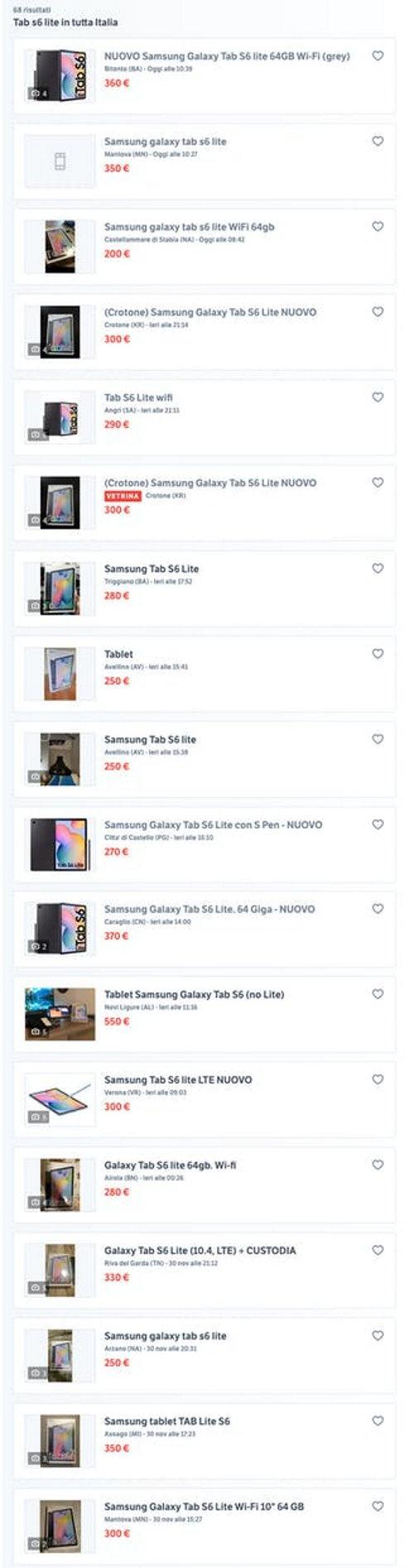 Galaxy Tab S6 Lite Wifi bonus PC il caso venduto sui marketplace dell'usato online