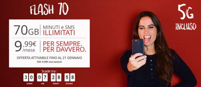 ILIAD FLASH 70 con connettività 5G la promo offerta