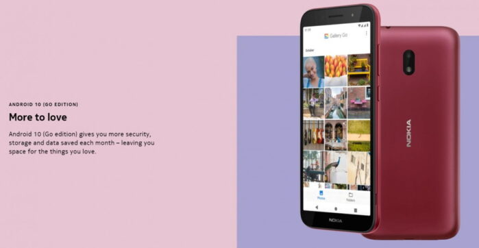 Nokia C1 Plus versione Android 10 Go