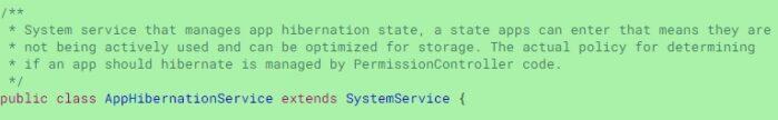 Android 12 funzione ibernazione codice