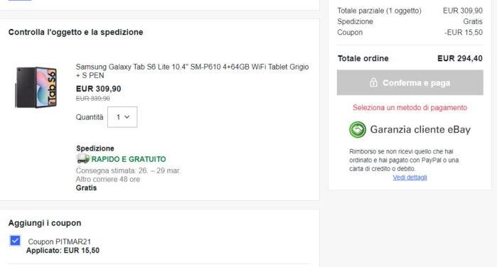 Galaxy Tab S6 Lite Ebay Coupon marzo 2021 prezzo