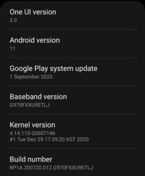 Gamma Galaxy S10 aggiornamento Android 11