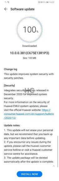 Huawei P30 Lite aggiornamento fine gennaio 2021