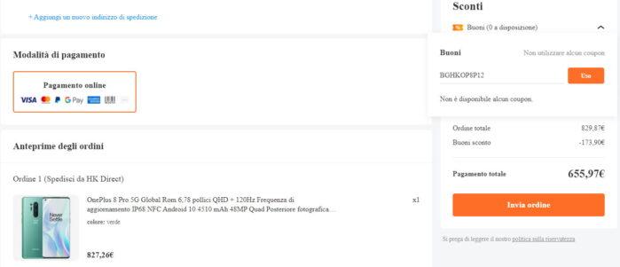 OnePlus 8 pro coupon 3 febbraio 2021 prezzo Banggood