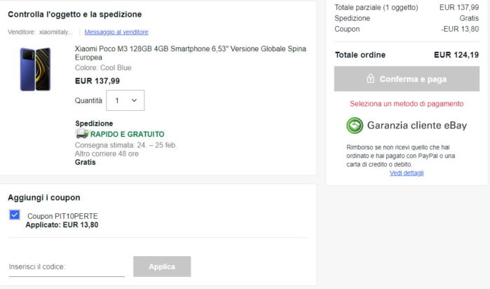 Poco M3 coupon spedizione Italia Ebay