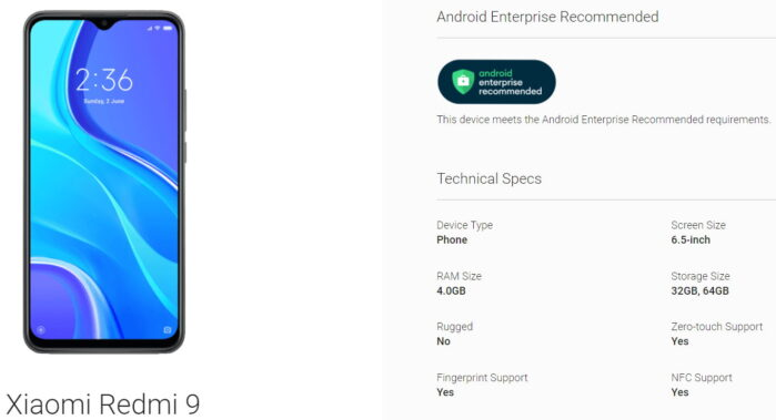 Redmi 9 certificato Android Enterprise Recommended