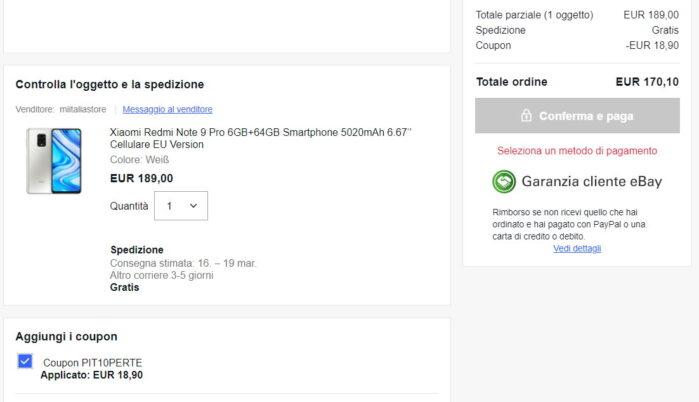 Redmi Note 9 Pro coupon ebay 8 marzo 2021