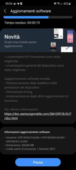 Samsung Galaxy S21 primo aggiornamento 1