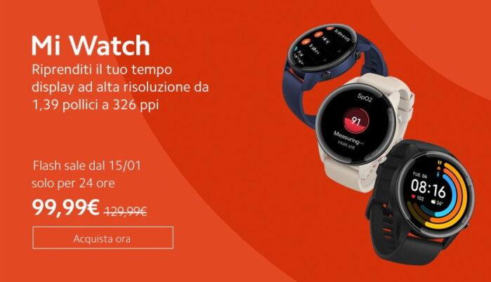 Xiaomi MI Watch prezzo Italia sconto 15 gennaio 2021