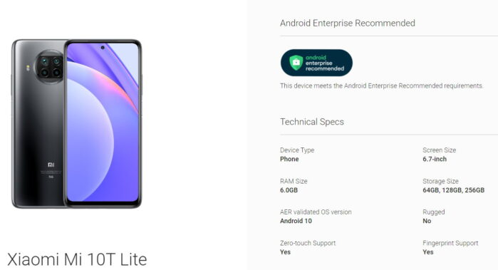 Xiaomi Mi Note 10 Lite certificato Android Enterprise Recommended