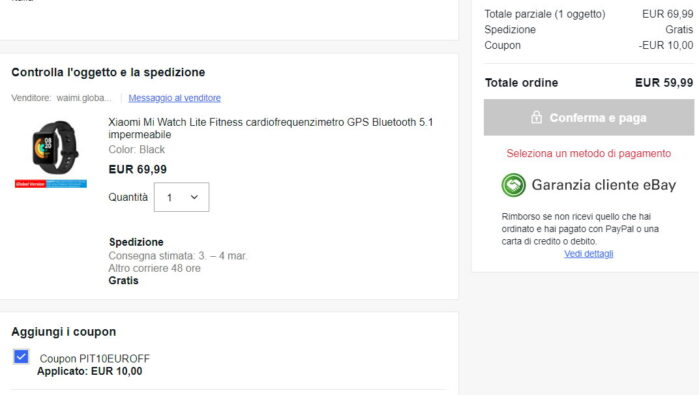 Xiaomi Mi Watch Lite coupon Ebay prezzo