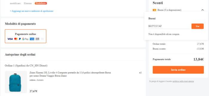Zaino Xiaomi 20Litri prezzo coupon 10 febbraio 2021 Banggood