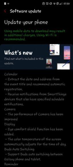 Galaxy Note 10 aggiornamento One UI 3.1