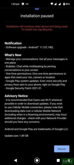 Nokia 8.3 5G Android 11 OTA
