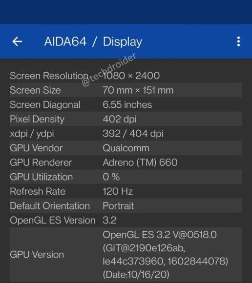 OnePlus 9 Display Aida64
