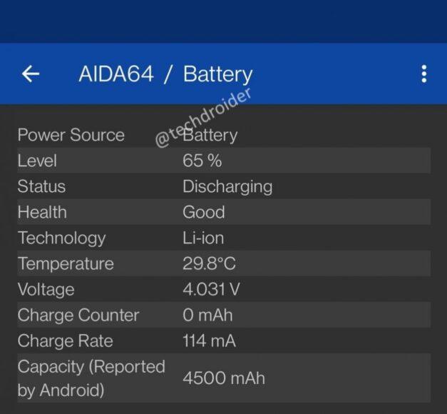 OnePlus 9 batteria Aida64